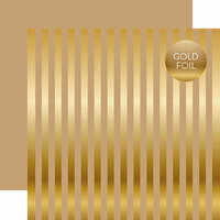Echo Park - Dots and Stripes Collection - Gold Foil Stripe - 12 x 12 Double Sided Paper - Tan