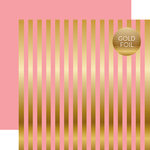 Echo Park - Dots and Stripes Collection - Gold Foil Stripe - 12 x 12 Double Sided Paper - Pink