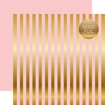 Echo Park - Dots and Stripes Collection - Gold Foil Stripe - 12 x 12 Double Sided Paper - Light Pink