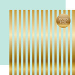 Echo Park - Dots and Stripes Collection - Gold Foil Stripe - 12 x 12 Double Sided Paper - Light Mint