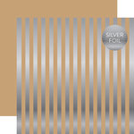 Echo Park - Dots and Stripes Collection - Silver Foil Stripe - 12 x 12 Double Sided Paper - Tan
