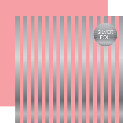 Echo Park - Dots and Stripes Collection - Silver Foil Stripe - 12 x 12 Double Sided Paper - Pink