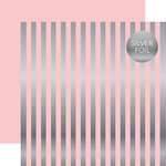 Echo Park - Dots and Stripes Collection - Silver Foil Stripe - 12 x 12 Double Sided Paper - Light Pink