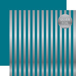 Echo Park - Dots and Stripes Collection - Silver Foil Stripe - 12 x 12 Double Sided Paper - Blue