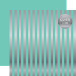 Echo Park - Dots and Stripes Collection - Silver Foil Stripe - 12 x 12 Double Sided Paper - Mint