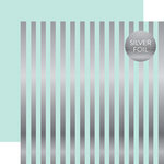 Echo Park - Dots and Stripes Collection - Silver Foil Stripe - 12 x 12 Double Sided Paper - Light Mint