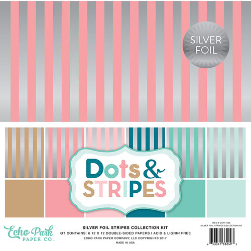 Echo Park - Dots and Stripes Collection - Silver Foil Stripe - 12 x 12 Collection Kit