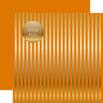 Echo Park - Dots and Stripes Collection - Autumn Gold Foil Stripe - 12 x 12 Double Sided Paper - Orange