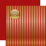 Echo Park - Dots and Stripes Collection - Autumn Gold Foil Stripe - 12 x 12 Double Sided Paper - Red
