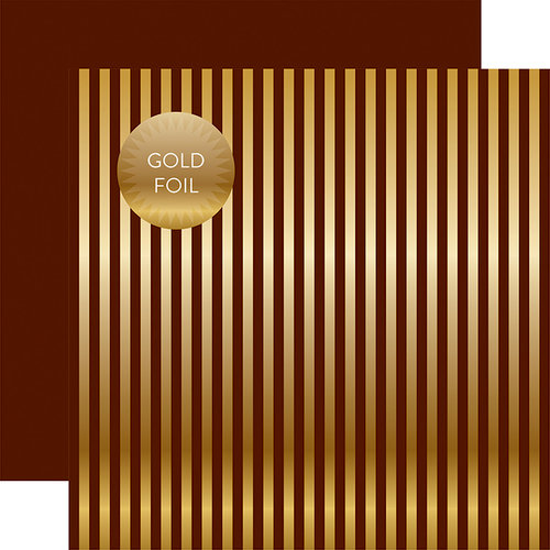 Echo Park - Dots and Stripes Collection - Autumn Gold Foil Stripe - 12 x 12 Double Sided Paper - Brown