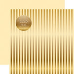 Echo Park - Dots and Stripes Collection - Autumn Gold Foil Stripe - 12 x 12 Double Sided Paper - Cream