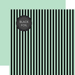 Echo Park - Dots and Stripes Collection - Black Foil Stripe - Halloween - 12 x 12 Double Sided Paper - Mint