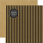 Echo Park - Dots and Stripes Collection - Black Foil Stripe - Halloween - 12 x 12 Double Sided Paper - Kraft