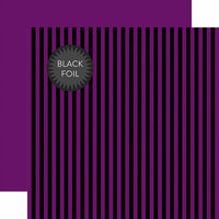 Echo Park - Dots and Stripes Collection - Black Foil Stripe - Halloween - 12 x 12 Double Sided Paper - Purple