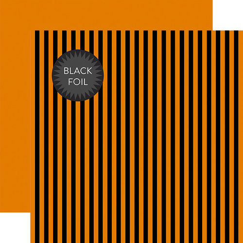 Echo Park - Dots and Stripes Collection - Black Foil Stripe - Halloween - 12 x 12 Double Sided Paper - Orange