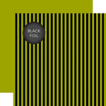 Echo Park - Dots and Stripes Collection - Black Foil Stripe - Halloween - 12 x 12 Double Sided Paper - Green