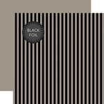 Echo Park - Dots and Stripes Collection - Black Foil Stripe - Halloween - 12 x 12 Double Sided Paper - Gray