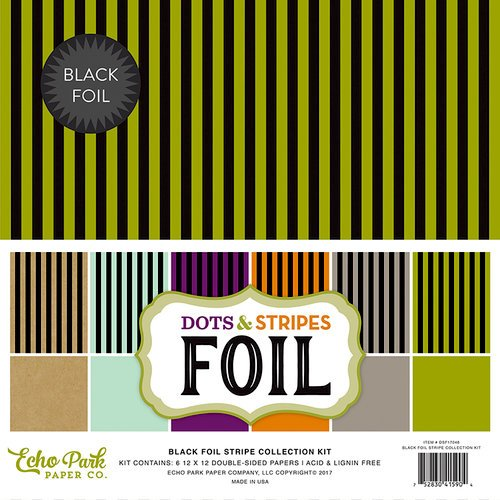 Echo Park - Dots and Stripes Collection - Black Foil Stripe - Halloween - 12 x 12 Collection Kit