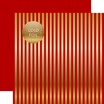 Echo Park - Dots and Stripes Collection - Christmas Gold Foil Stripe - 12 x 12 Double Sided Paper - Dark Red