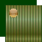 Echo Park - Dots and Stripes Collection - Christmas Gold Foil Stripe - 12 x 12 Double Sided Paper - Dark Green
