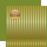 Echo Park - Dots and Stripes Collection - Christmas Gold Foil Stripe - 12 x 12 Double Sided Paper - Olive Green