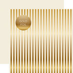 Echo Park - Dots and Stripes Collection - Christmas Gold Foil Stripe - 12 x 12 Double Sided Paper - Ivory