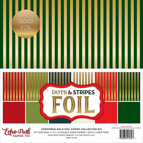 Echo Park - Dots and Stripes Collection - Christmas Gold Foil Stripe - 12 x 12 Collection Kit
