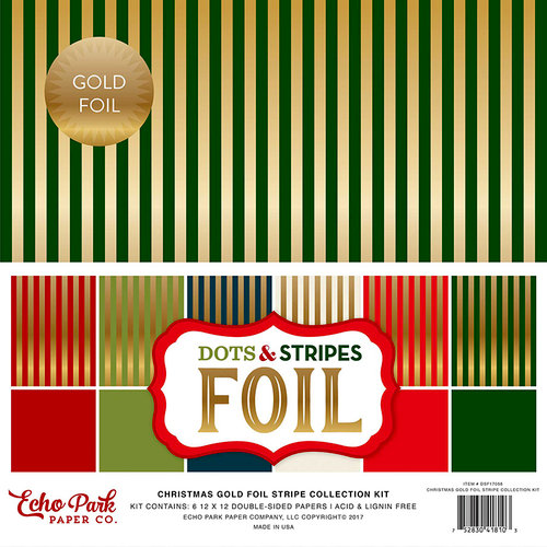Echo Park - Dots and Stripes Collection - Christmas Gold Foil Combo - 12 x 12 Collection Kit