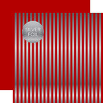 Echo Park - Dots and Stripes Collection - Christmas Silver Foil Stripe - 12 x 12 Double Sided Paper - Dark Red