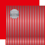 Echo Park - Dots and Stripes Collection - Christmas Silver Foil Stripe - 12 x 12 Double Sided Paper - Holly Berry