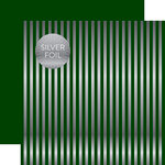 Echo Park - Dots and Stripes Collection - Christmas Silver Foil Stripe - 12 x 12 Double Sided Paper - Dark Green