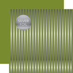 Echo Park - Dots and Stripes Collection - Christmas Silver Foil Stripe - 12 x 12 Double Sided Paper - Olive Green