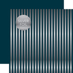 Echo Park - Dots and Stripes Collection - Christmas Silver Foil Stripe - 12 x 12 Double Sided Paper - Navy