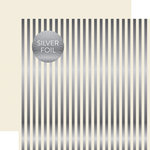 Echo Park - Dots and Stripes Collection - Christmas Silver Foil Stripe - 12 x 12 Double Sided Paper - Ivory