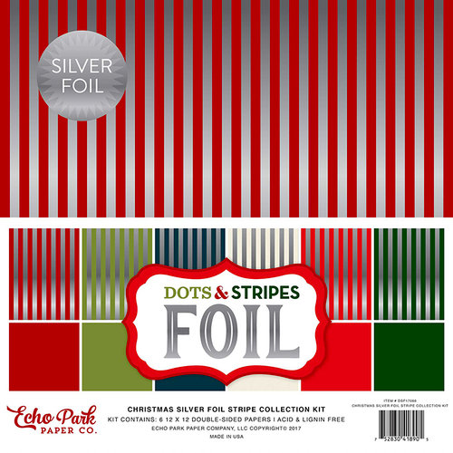 Echo Park - Dots and Stripes Collection - Christmas Silver Foil Combo - 12 x 12 Collection Kit