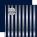 Echo Park - Dots and Stripes Collection - Silver Foil Stripe - 12 x 12 Double Sided Paper - Dark Blue