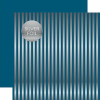 Echo Park - Dots and Stripes Collection - Silver Foil Stripe - 12 x 12 Double Sided Paper - Medium Blue