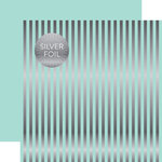 Echo Park - Dots and Stripes Collection - Silver Foil Stripe - 12 x 12 Double Sided Paper - Arctic
