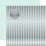 Echo Park - Dots and Stripes Collection - Silver Foil Stripe - 12 x 12 Double Sided Paper - Ice Blue