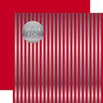 Echo Park - Dots and Stripes Collection - Silver Foil Stripe - 12 x 12 Double Sided Paper - Cranberry