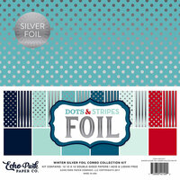 Echo Park - Dots and Stripes Collection - Silver Foil Combo - 12 x 12 Collection Kit