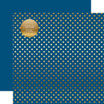 Echo Park - Dots and Stripes Collection - Spring Gold Foil Dots - 12 x 12 Double Sided Paper - Bluejay