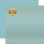 Echo Park - Dots and Stripes Collection - Spring Gold Foil Dots - 12 x 12 Double Sided Paper - Bluebell