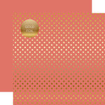 Echo Park - Dots and Stripes Collection - Spring Gold Foil Dots - 12 x 12 Double Sided Paper - Peony