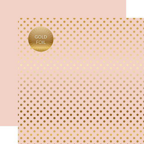 Echo Park - Dots and Stripes Collection - Spring Gold Foil Dots - 12 x 12 Double Sided Paper - Blossom