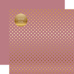 Echo Park - Dots and Stripes Collection - Spring Gold Foil Dots - 12 x 12 Double Sided Paper - Mauve