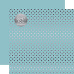 Echo Park - Dots and Stripes Collection - Spring Silver Foil Dots - 12 x 12 Double Sided Paper - Bluebell