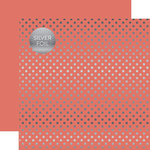 Echo Park - Dots and Stripes Collection - Spring Silver Foil Dots - 12 x 12 Double Sided Paper - Peony