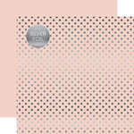 Echo Park - Dots and Stripes Collection - Spring Silver Foil Dots - 12 x 12 Double Sided Paper - Blossom