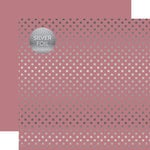 Echo Park - Dots and Stripes Collection - Spring Silver Foil Dots - 12 x 12 Double Sided Paper - Mauve